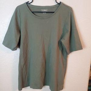 LL Bean Green Short Sleeve Casual Stretch Shirt
